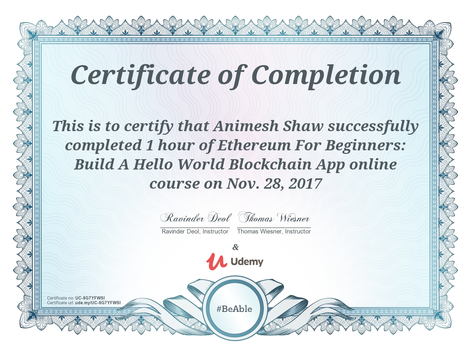 Ethereum for Beginners - Certificate - Animesh Shaw