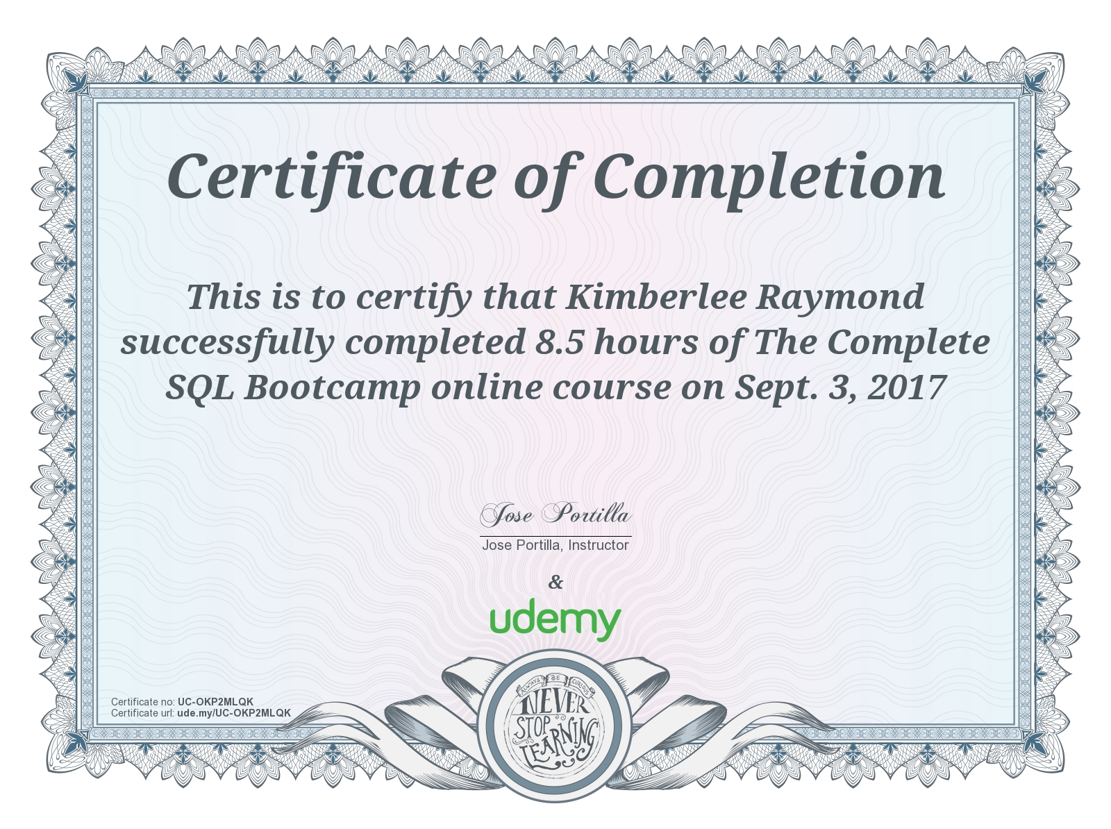 Certifications kimberlee raymond udemy certifications sql xflitez Gallery