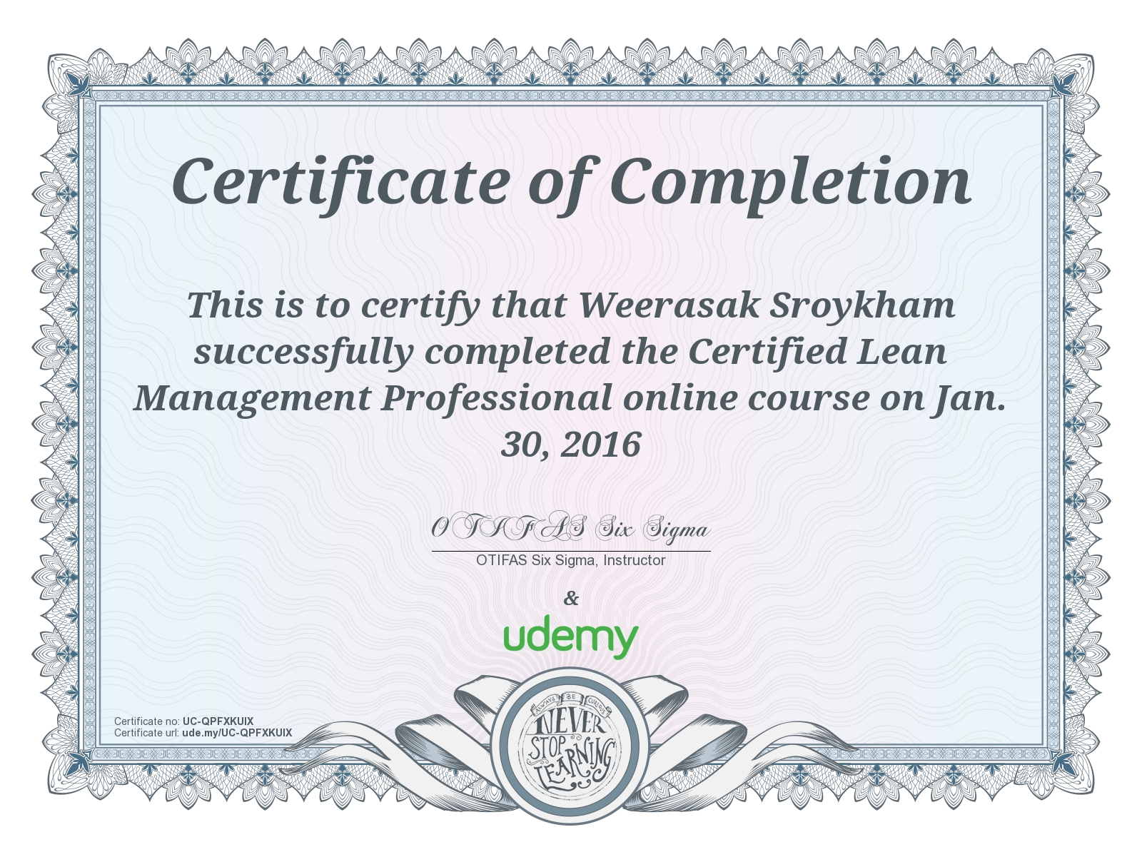 Course Certified Lean Management Professional On Jan 30 2016 As