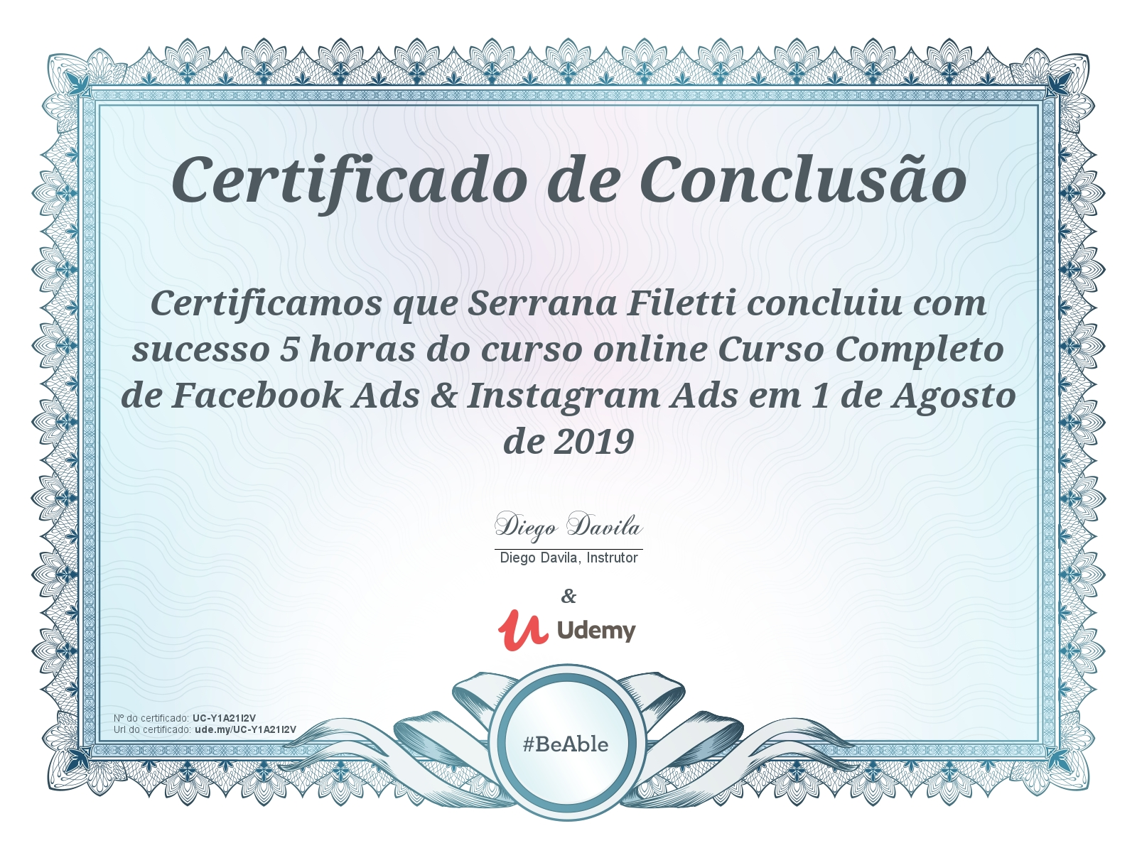 Certificado Facebook e Instagram Ads