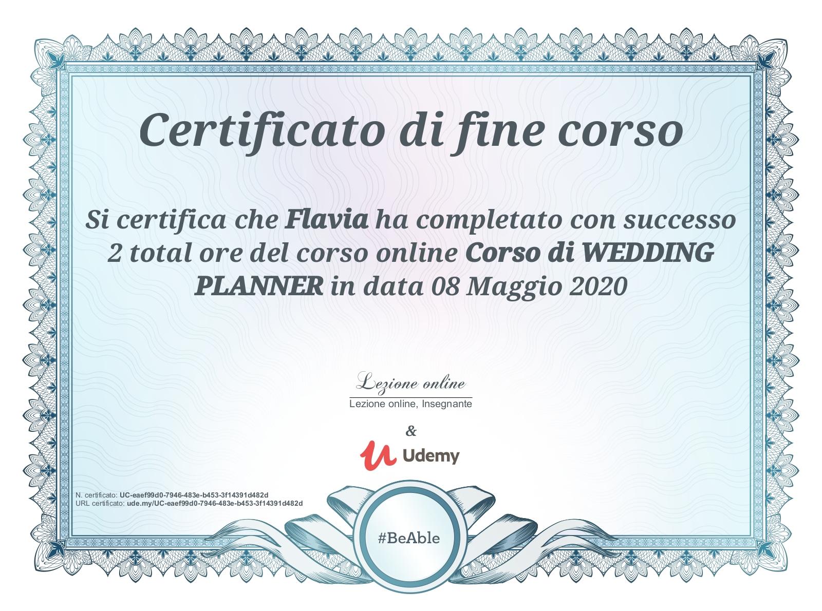 corso wedding planner Flavia